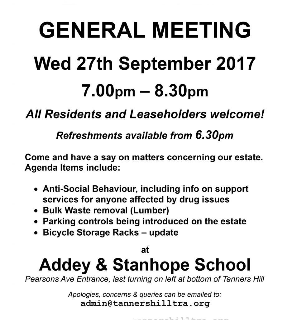 Meeting Notice Wed 27 September 2017