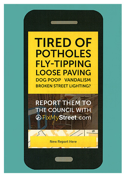 Tired of Potholes etc? Report to the Council using FixMyStreet.com App