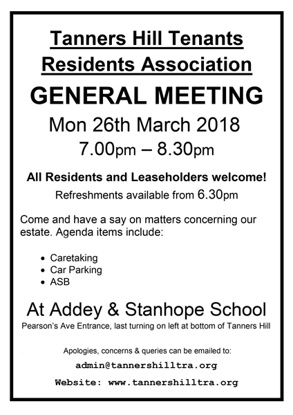 General Meeting Notice for Mon 26th March 2018, 7pm to 8.30 At Addey And Stanhope School