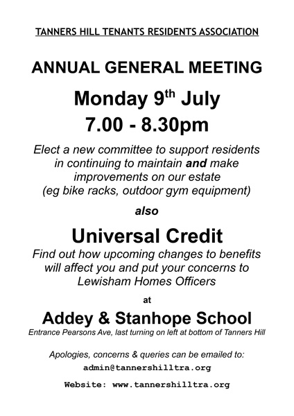 TRA AGM and Universal Credit Notice 9July18