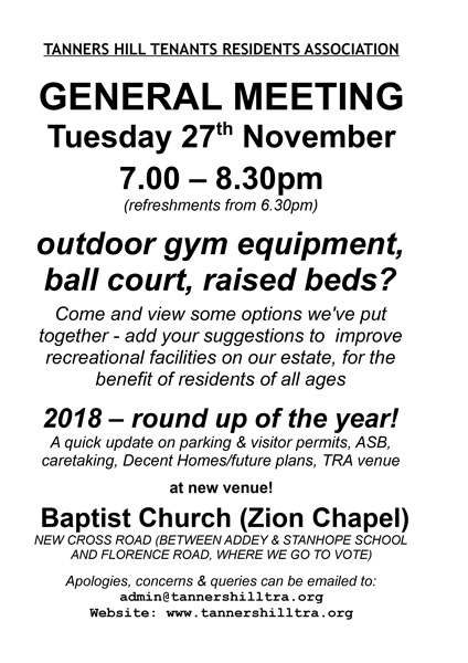 Notice of TRA General Meeting Tuesday 27th November 2018