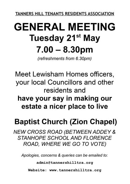 General Meeting Notice for Tuesday 21st May 2019