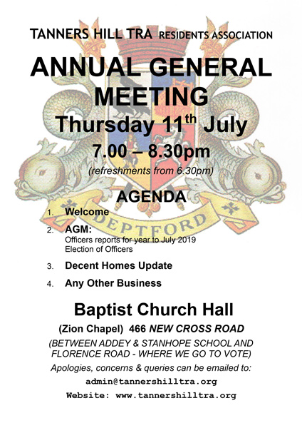 AGM Notice 11th July 2019 6.30 to 8.30 Baptist Church
