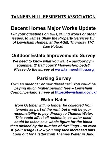 News Update - side 2 of leaflet inc Parking survey and Water Rates