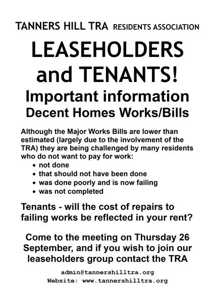Notice re Decent Homes Bills