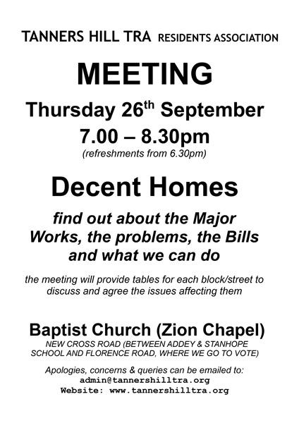 Meeting re Decent Homes Thurs 26 Sept 2019